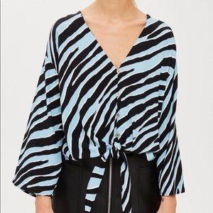 Topshop Zebra Tie Front Blouse
